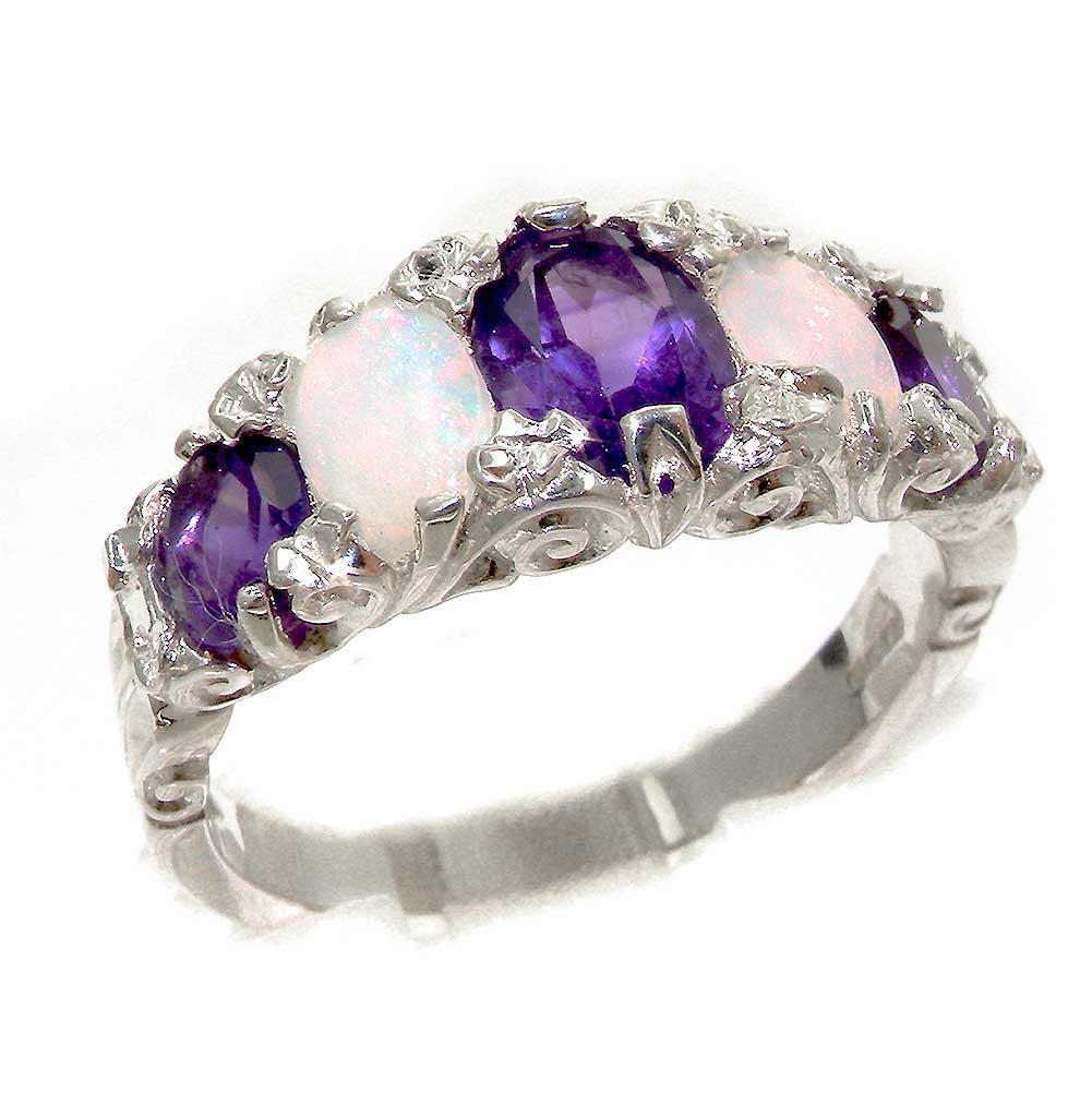 925 Sterling Silver Natural Amethyst and Opal Womens Band Ring - Sizes 4 to 12 Available