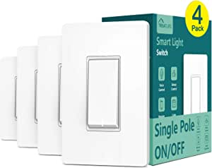 Smart Light Switch, Treatlife Wi-Fi Light Switch, Compatible with Alexa, Google Assistant and IFTTT, Single-Pole, Schedule, Remote Control, Neutral Wire Required, Easy and Safe Installation