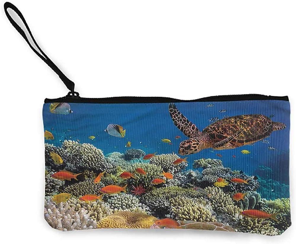 Underwater Cute Dfturtle Fish Leather Womens Zipper Wallets Clutch Coin Case