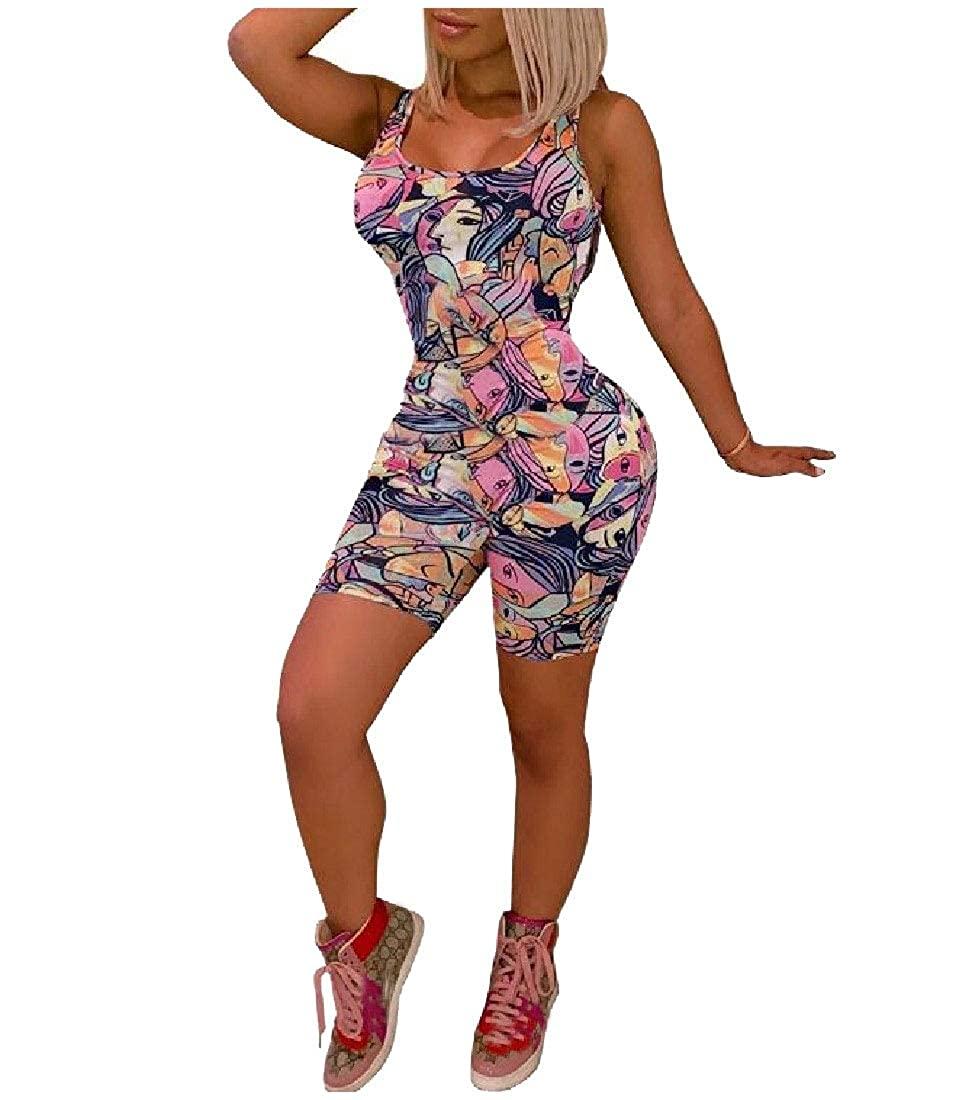 Doufine Womens Print Sleeveless Bodycon Stylish Jumpsuits Rompers