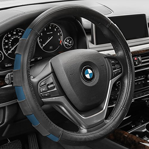 FH GROUP FH2005 FH GROUP FH Group Genuine Leather Sport Steering Wheel Cover Blue - Fit Most Car, Truck, Suv, or Van