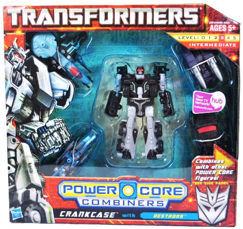 Transformers Power Core Combiners Series Robot Action Figure - CRANKCASE Commander with 4 Destrons (Missile Carrier Drone, Attack Helicopter Drone, Spy Plane Drone and Assault Vehicle Drone)