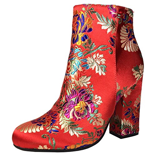 Bamboo Womens Round Toe Block Heel Plain Bootie Red Floral Brocade 7LAAl