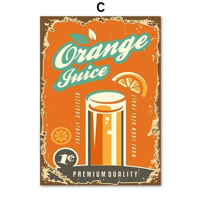 zxddzl Beber Limonada Jugo de Naranja Soda Arte de la Pared ...