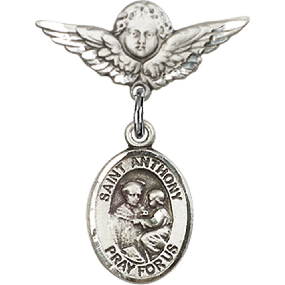 Sterling Silver Baby Badge with St. Anthony of Padua Charm and Angel w/Wings Badge Pin 7/8 X 3/4 inches Bliss Manufacturing 9004SS/0735SS