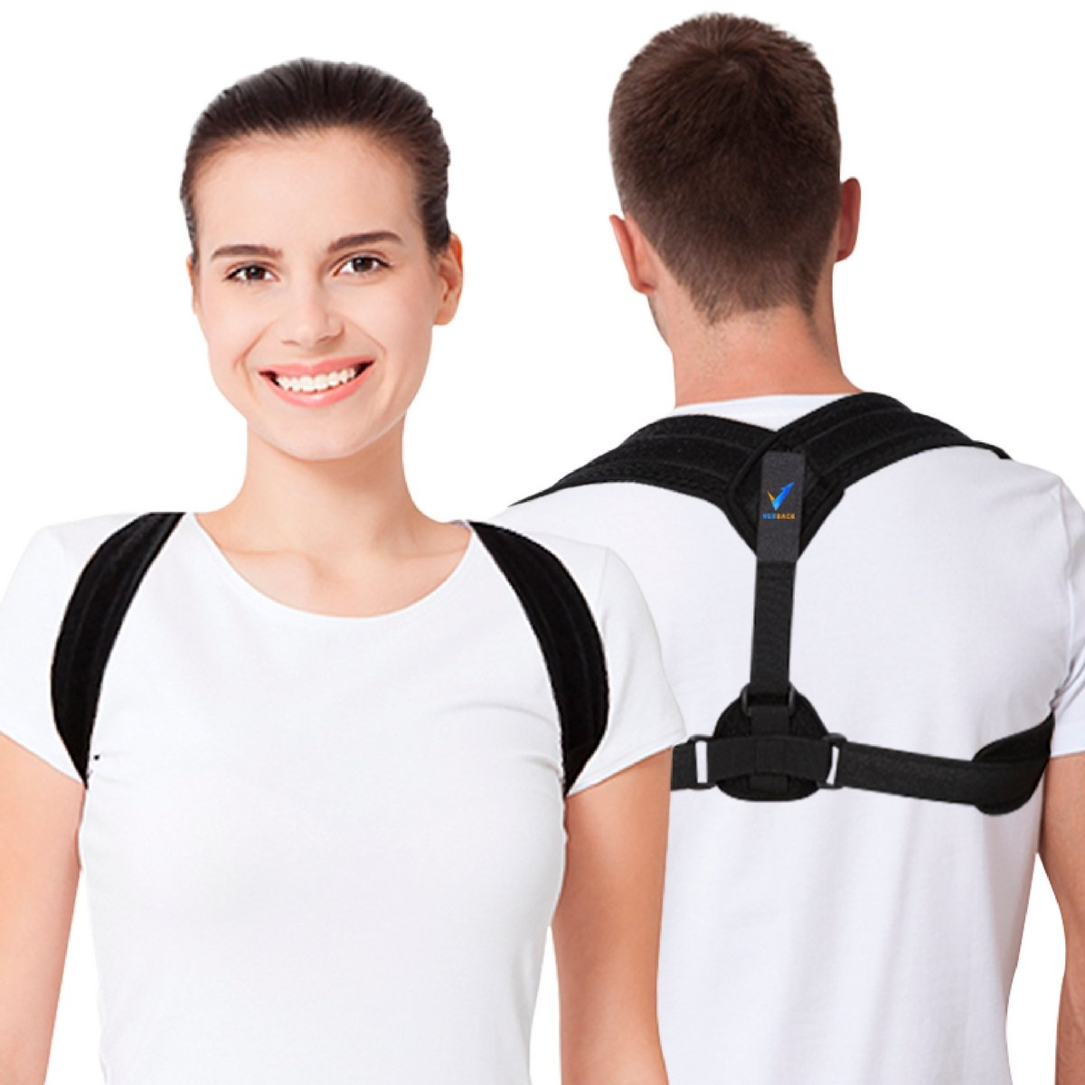 Back Posture Corrector for Women and Men by Verback - Effective Back Straightener for Shoulder Support – Comfortable Clavicle Brace to Discreetly Use Everywhere