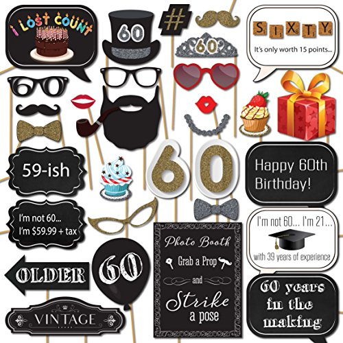 60th Birthday Photo Booth Props with Strike a Pose Sign - 31 Printed Pieces with Wooden (Birthday Balloons Design Frame)
