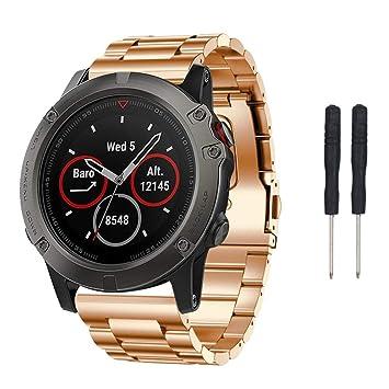 Sunbona - Correa de Repuesto para Reloj Garmin Fenix 5X GPS, de Acero Inoxidable,
