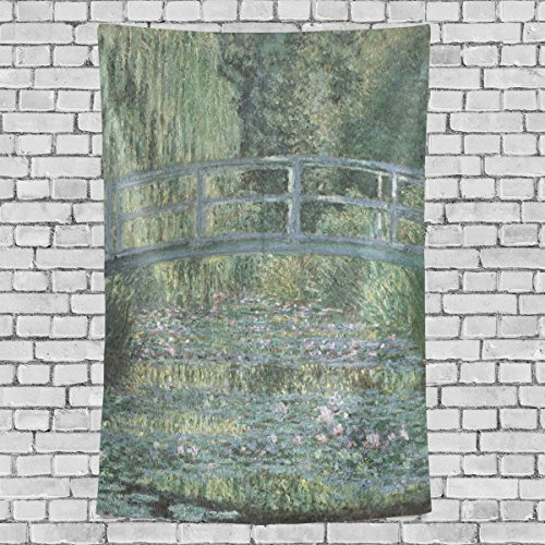 WIHVE The Japanese Bridge Water-Lily Pond Claude Monet Wall Hanging Tapestry with Romantic Pictures Art Nature Home Decorations for Living Room Bedroom Dorm Decor in 60 x 40 Inches ()