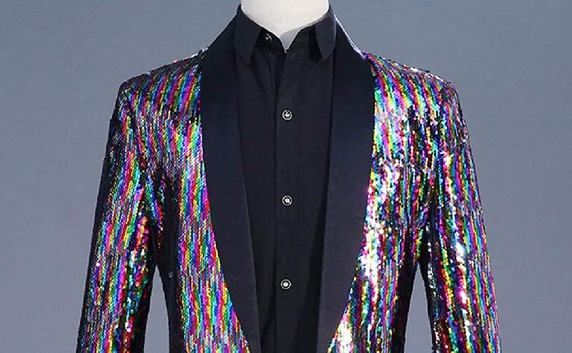 CrazyDay Mens Evening Club Cocktail Party Colorful Sparkly Windbreak Sports Coat Blazers