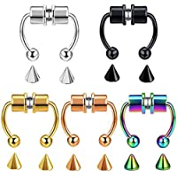 Magnetic Nose Septum Ring Faux Fake False Imitate Nose Rings Clip Horseshoe Hoop Ring 316L Stainless Steel Clip On Nose…