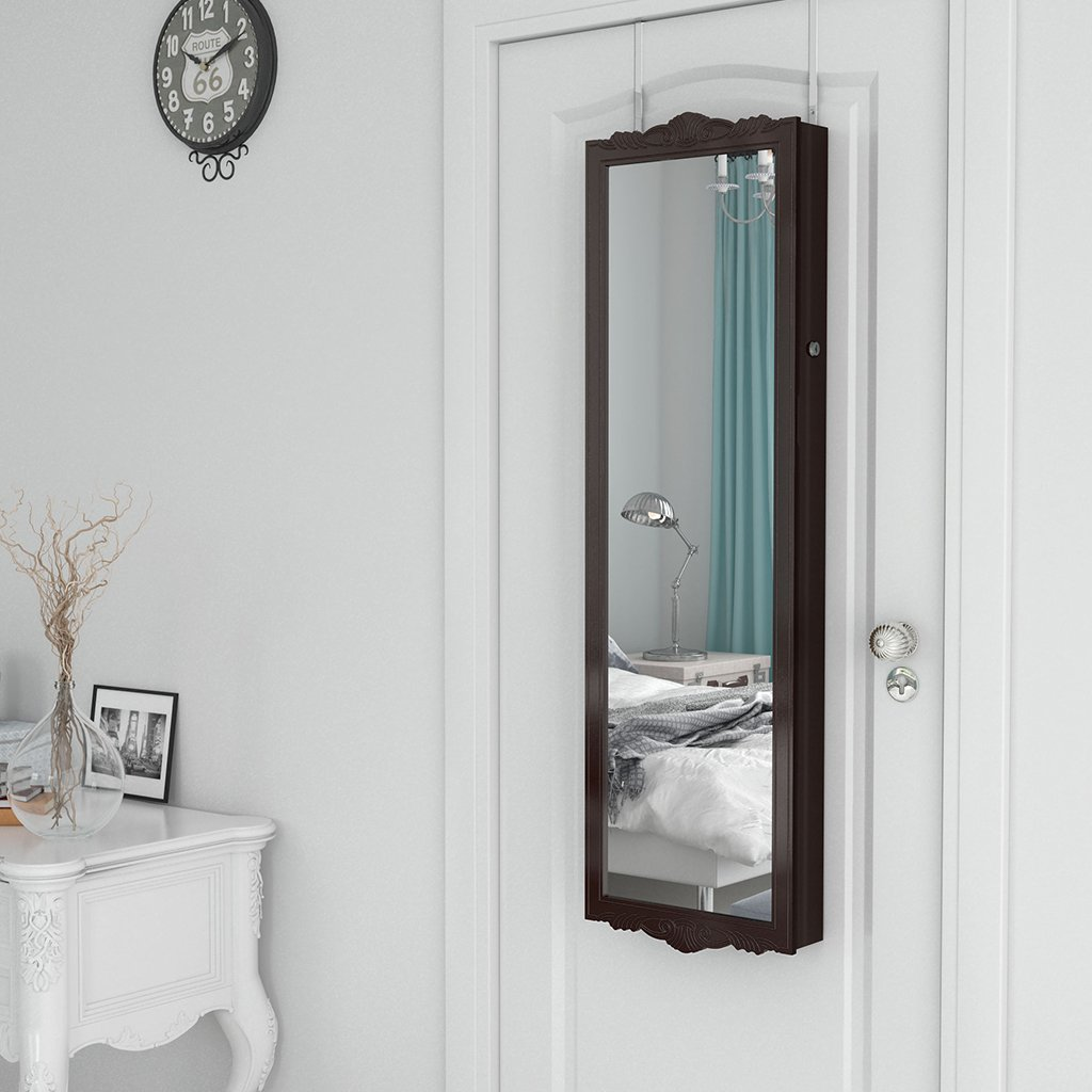 langria full length lockable wall mounted over the door hanging jewelry cabinet 767520320512 ebay. Black Bedroom Furniture Sets. Home Design Ideas