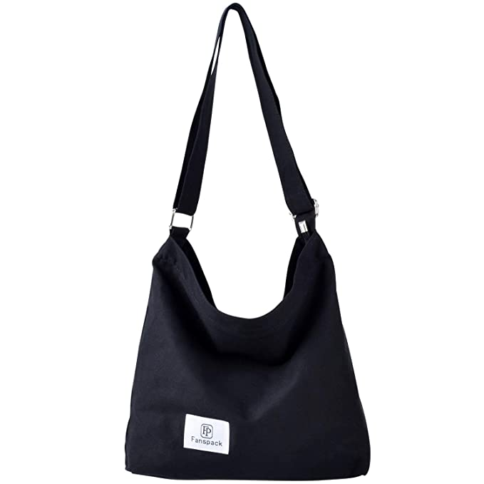 Bolsos Mujer,Fanspack Bolso Bandolera Mujer de Lona Hobo Bag Bolsos de Crossbody Bolso Shopper Multifuncional (Negro)