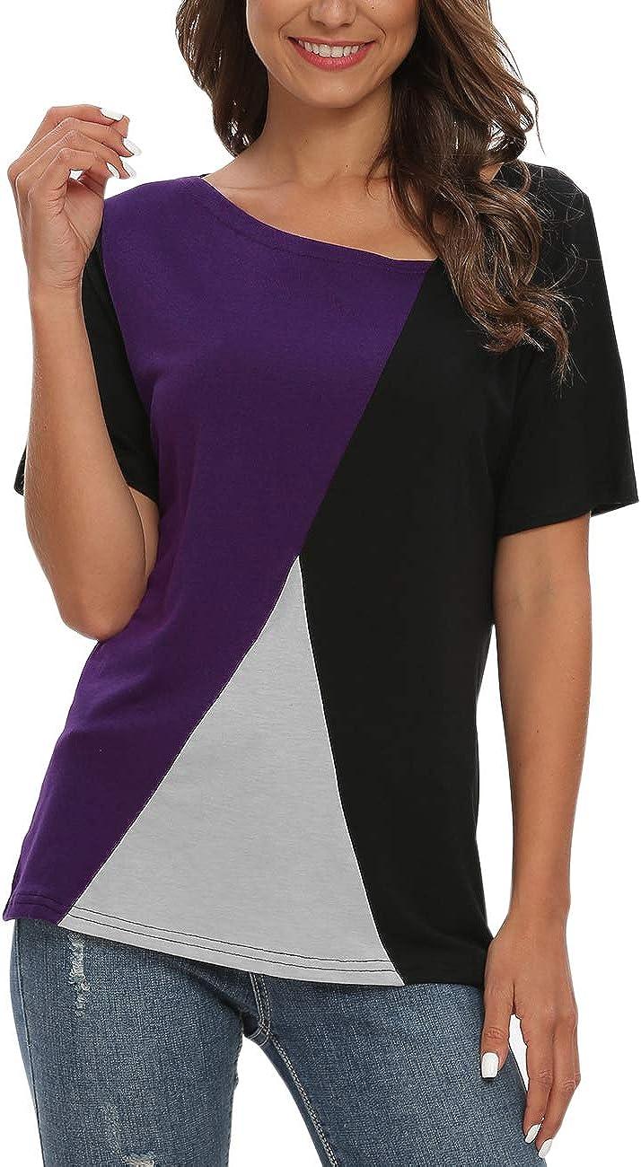 AUSELILY Magliette a Manica Corta da Donna Camicette Top a Tunica Color Block in Patchwork.