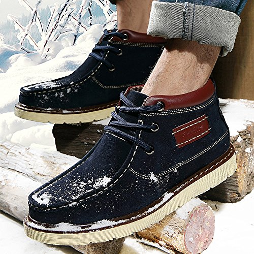 EnllerviiD Mens Moc Toe Lace Up Chukka Boots Faux Fur Lined Outdoor Winter Suede Ankle Snow Booties 8982 Blue 6YA1CA1