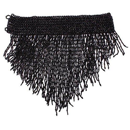 Beaded Elastic Waist Rave Belly Dance Skirt Hip Scarf Halloween Costume One Size Belt Belly Dancer Costume Waist Chain (Black)