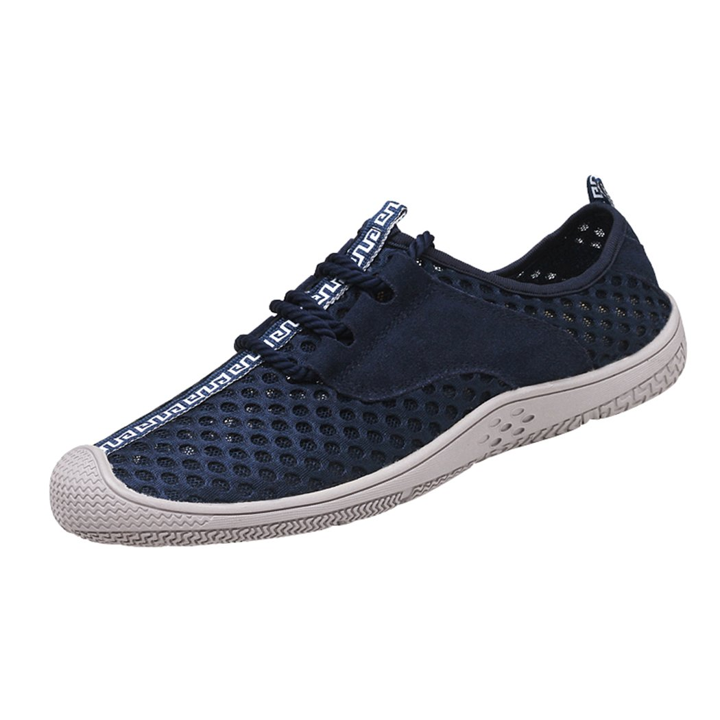 Sun Lorence Men's Summer Lace-up Hollow-Out Running Shoes Outdoor Sports Casual Breathable Mesh Sneakers 7 D(M) US|Dark Blue