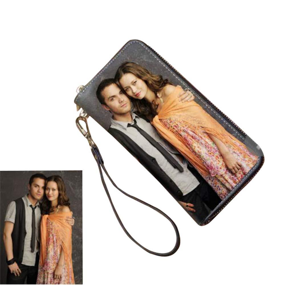 Double zipper wallet custom photo wallet lady gift photo clutch Black Double Side