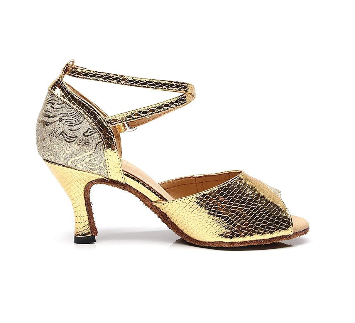 ZHRUI Damen Handgemachte Mode Knöchelriemen Gold Synthetische Latin Salsa Salsa Salsa Ballroom Tanzen Sandalen UK 2 (Farbe   Silber-3.35  Heel Größe   -) 9e5629