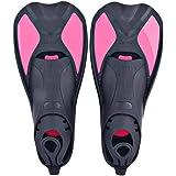 Naisidier Flossen Schnorchelflossen,kurz Schwimmflossen,Trainingsflossen Taucherflossenfür Erwachsene,Kinder, Land & Wasser Schwimmtraining Flossen Pink Flossen Schuhe