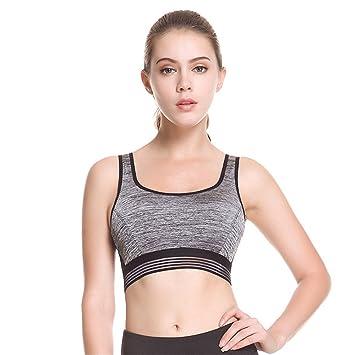 Qosow Sujetadores Deportivos para Mujer Sujetador Deportivo de Secado Rápido sin Anillo de Acero para Damas Ropa Interior Fitness Yoga Gris: Amazon.es: ...