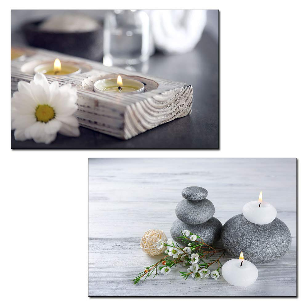 2 Panel Canvas Wall Art - Spa Still Life with Candles and Zen Stones - Giclee Print Gallery Wrap Modern Home Art Ready to Hang - 24