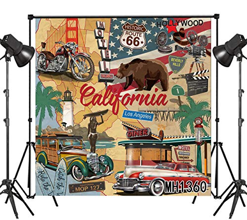 LB American Rustic Route 66 Backdrop California Retro Motorcycle Car Backdrops for Photography Vintage US Photo Background Wall Poster 8x8ft Photo Shoot Props]()