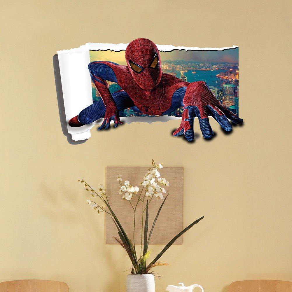 Amazon.com: Fange DIY Removable 3D The Spider Man Super Hero Art ...