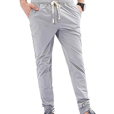 Elecenty Pantaloni da uomo,Tinta Unita Tuta da uomo casual