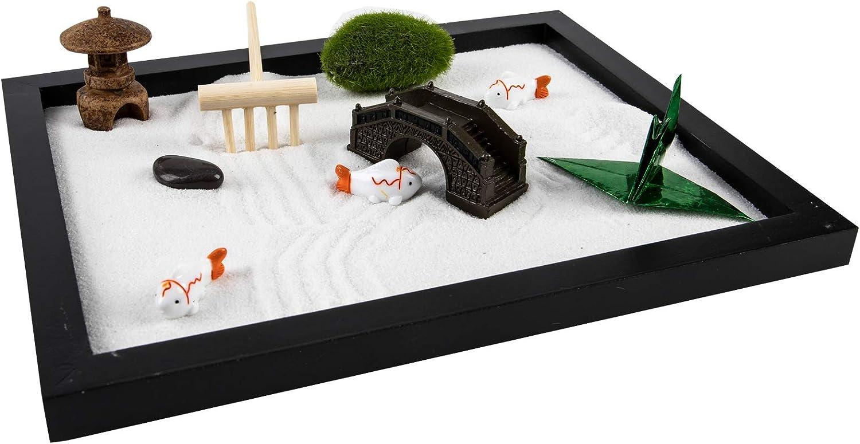 Bavnnro Zen Garden Kit,Desktop Meditation Zen Garden,Suitable for Home and Office Desktop,Perfect Relaxation Creative Gifts,Including Tray,Buddha,Sand,Stone and Rake,Etc (B)