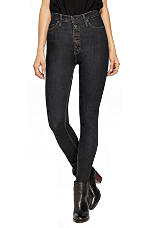 95b9b6c708580 HyBrid   Company Womens Super Stretch 5 Button Hi-Waist Skinny Jeans Black 1