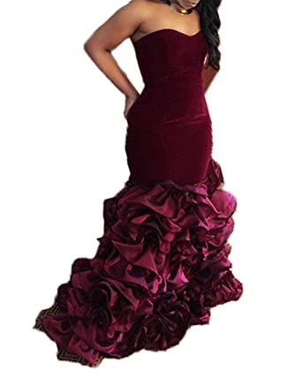 20KyleBird Womens Strapless Mermaid Prom Dresses Long Velvet Evening Gowns Formal KB009