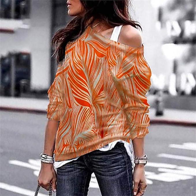 ❤ Camisa de la Mujer Color del Empalme, Moda Mujeres Fuera del Hombro Manga Larga Impresión geométrica Blusa Sudadera Pullover Tops Ocasionales Absolute: ...