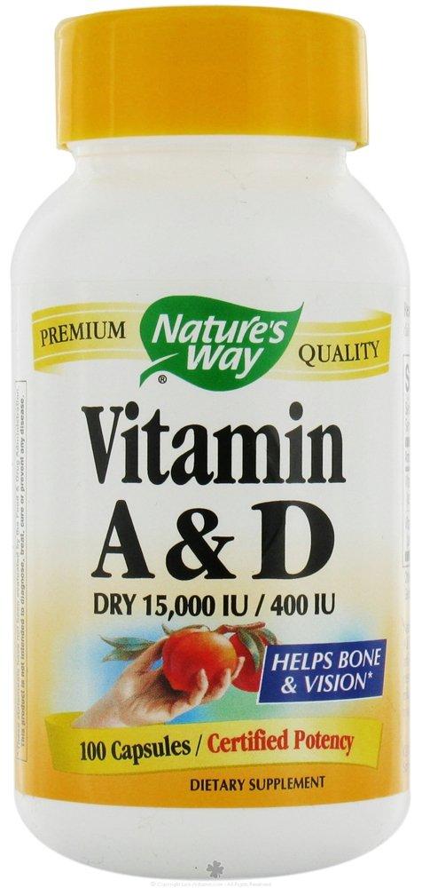 Natures Way Vitamin A and D 15,000 IU/ 400 IU - 100 Capsules, 12 Pack