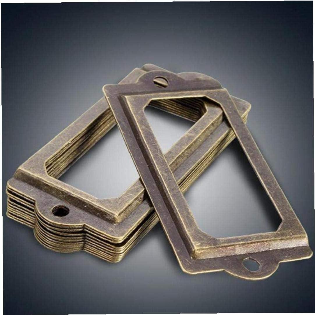 Amoyer Lat/ón Antiguo Hogar 12pcs Metal Discogr/áfica Tirador Marco del Archivo Nombre del Titular De La Tarjeta para Muebles De Caja Caja del Caj/ón