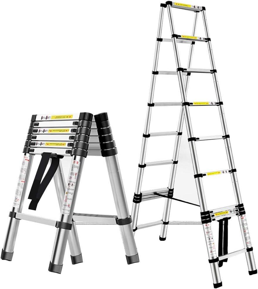 ZR- De múltiples fines Aluminio Portátil Escalera telescópica Bricolaje Escalera extensible de marco A Pasos de la extensión, Capacidad de carga 330lbs -Fácil de almacenar y fácil de llevar: Amazon.es: Hogar