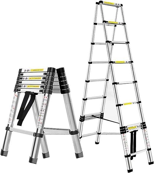 ZR- De múltiples fines Aluminio Portátil Escalera telescópica ...
