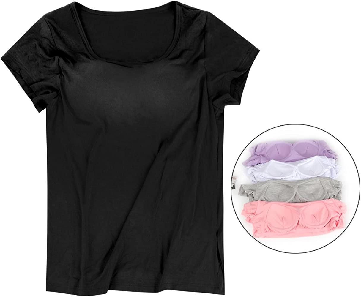 GHCHEN Womens Round Neck Modal Built-in Bra Tanks Tops Camisole Yoga Casual Tops T-Shirt Black XL