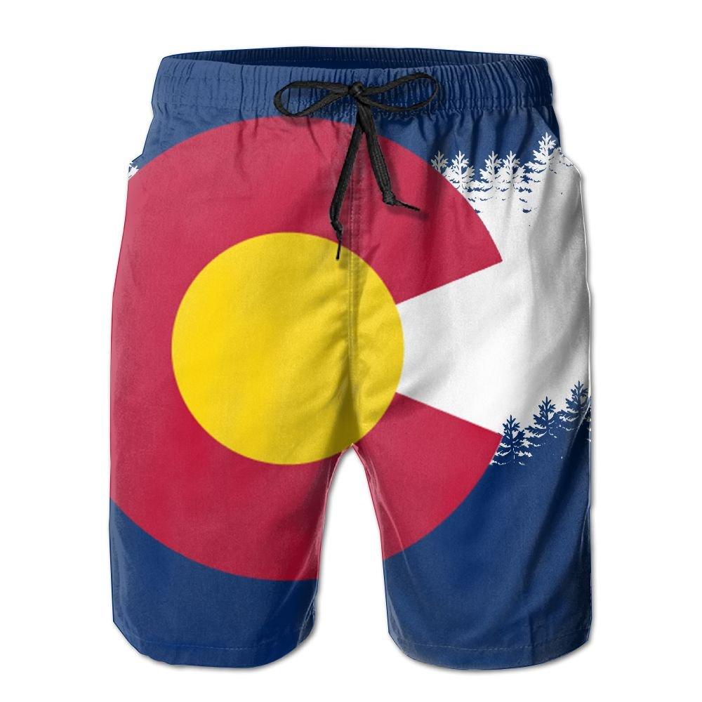 COOA Colorado Flag Mens Quick Dry Beach Board Shorts Swim Trunk