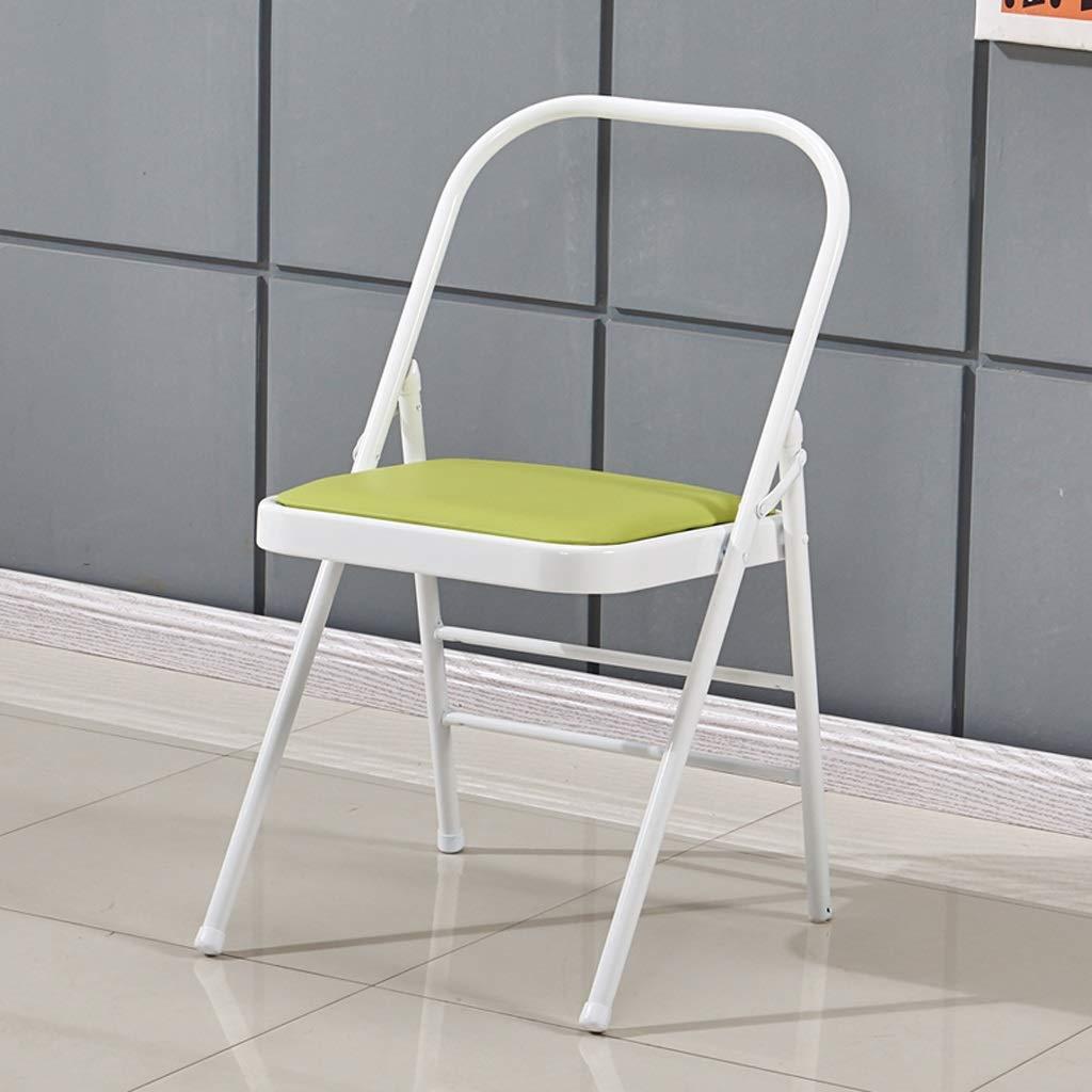 のどの革22mmの鋼管のヨガの椅子の補助用具、折り畳み式のヨガの椅子、折るヨガの背中の開いた標準的な支柱の練習アーサナ活動 (色 : White Green)  White Green B07PSHJ1N4
