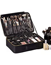"ROWNYEON Travel Makeup Bag Cosmetic Makeup Train Case Artist Makeup Organizer Professional Portable Storage Bag for Women Girls Waterproof Toiletry Organizer with EVA Adjustable Dividers 16.14"" Large Black"