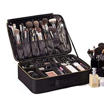 89429ea2c67e ROWNYEON Travel Makeup Bag Cosmetic Makeup Train Case Artist Makeup  Organizer Professional...