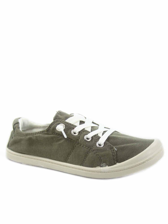 Soda Zig-s Women's Causal Flat Heel Slip On Lace up Look Sneaker Shoes B07DN3NXCR 6.5 B(M) US|Khaki