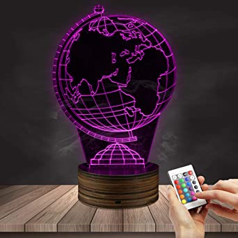 Lampe Terrestre D'illusion De Lumière Led 3d Optique Globe Veilleuse 8wPX0knO
