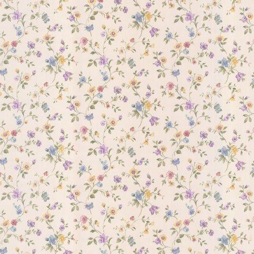 Wallpaper Designer Floral (Brewster 413-66305 Cindy Floral Trail Wallpaper, White)