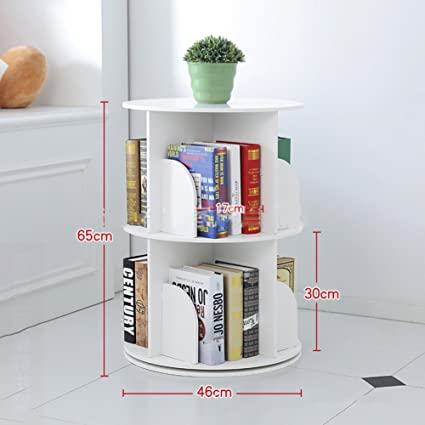JXBOOS BookshelfCreative 360Rotating Bookcase Simple Disassembly Bookshelves Student Landing Rack