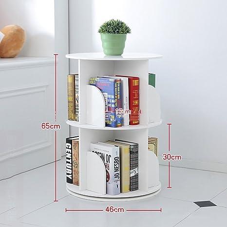 new product fdd43 8dd0d JX&BOOS Bookshelf,Creative 360°Rotating Bookcase Simple disassembly  Bookshelves Simple Student Landing Rack -White 46x46x65cm(18x18x26)