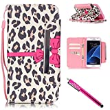 Galaxy S7 Case, Firefish Kickstand Card Slots Cash Holder Dual Layer Impact Resistant Case Cover with Wrist Strap Magnetic Snap Closure for Samsung Galaxy S7-Leopard