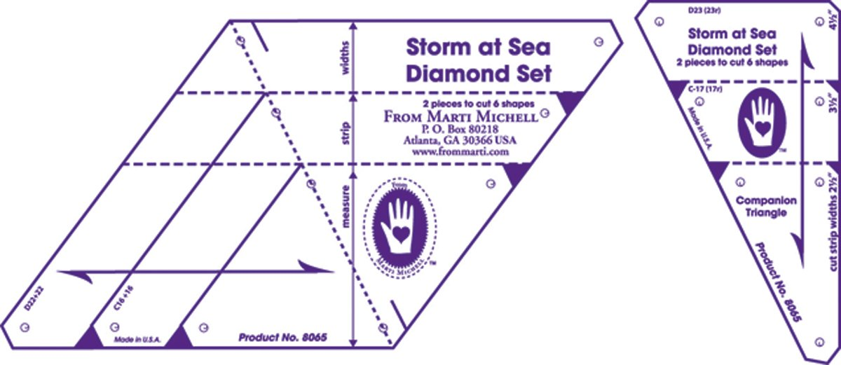 Marti Michell , 8065 ,Diamond Template Set, Storm at Sea, 2 Pieces Per Pack 8065M