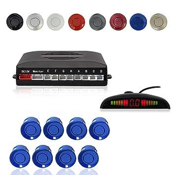 Radar Aparcamiento Sensor Sistema, Cocar Coche Aparcamiento Kit con 8 Estacionamiento Sensores + Detección de Distancia + Sonido Advertencia(Azul Color): ...